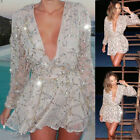 Women Summer Long Sleeve Lace Casual Evening Party Cocktail Short Mini Dress New