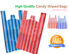100 x Medium Red / White Candy Stripe Vest Carrier Bags Medium