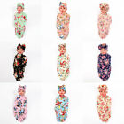 New Hot Baby Infant Floral Hat Bow Tie Flowers Blanket Swaddle Headband Set