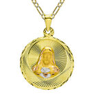 14K Tri Color Gold Jesus and Gudalupe Double Sided Pendant Neckl-White Pave Figa