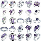 1x Charm Rings Women's 925 Sterling Silver Amethyst Rings Wedding Party Jewelry