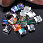 10pcs 10mm Flat Square Cube Faceted Crystal Glass Findings Loose Spacer Beads