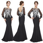 Ever Pretty Long Black Mermaid Formal Evening Party Dress Cocktail Prom Gown