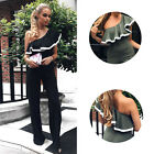 Jumpsuit Long Trousers One Shoulder Wide Leg Women's New Lotus Leaf Side