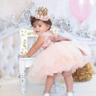 Girl Sequin Bow Tutu Dress Princess Party Wedding Tulle Gown Baby