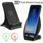 Fast Qi Wireless Charger Stand Dock Pad Mat+ Cooling Fan For Samsung S8 S7 Edge+