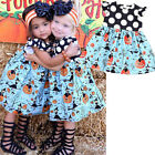 Toddler Kids Baby Girls Halloween Pumpkin Cartoon Princess Dress Outfits Clothes
