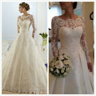 Long sleeve White/Ivory Mermaid Lace Wedding Dress Bridal Gown Stock Size 6-18