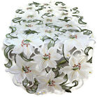 Table Runner, Doily, Mantel Scarf with Bleached White Easter Lily Lilies