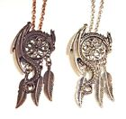 Dragon & Dreamcatcher Necklace silver copper pentant wyvern feathers fantasy 1V
