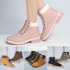 Women's Ladies Flat Lace Up Winter Snow Boots Martin Ankle Boots Shoes
