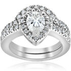 1 1/4ct Pear Shape Diamond Halo Wedding Engagement Bridal Set 14K White Gold