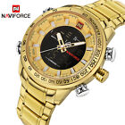 NAVIFORCE Luxury Mens Watche Gold Led Waterproof Sports Full Steel Watch