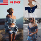 chest wrap - US Women Off Shoulder Crop Top Strappy Denim Chest Wrap Vest  Beach Short Blouse