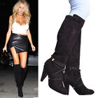 Womens Black High Heel Round Toe Stretchy Mid Calf Zip Fashion Winter Boots Size