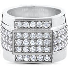 2 ct HUGE Mens Diamond 15MM Wide High Polished Flashy Bling Ring White Gold