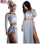 Vogue Hot Women Lace Long Sleeve Summer Beach Formal Party Cocktail Long Dress