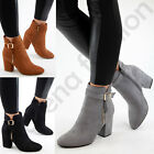 Kyпить New Womens Ladies Ankle Boots High Block Heel Buckle Side Zip Casual Shoes Sizes на еВаy.соm