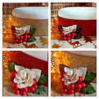 Christmas Red or Gold Glitter Cake Decoration with Berries and Rose Ribbon