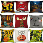 Halloween Series Pumpkin Cat Cotton Linen Pillow Cases Sofa Throw Cushion Cover. image