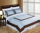 Wrinkle Free Egyptian Cotton Blue/Chocolate Duvet Cover Set