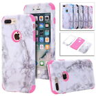 iPhone 6 7 8 Plus Granite Marble Texture Heavy Duty Hybrid Shockproof Case Cover