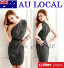 Slim Fit Sheath Bodycon One Shoulder Ruched Women's Cocktail Party Short Dress