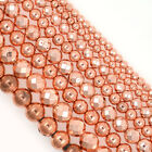 Natural Gemstone Hematite Rose Gold Smooth Faceted Round Beads 2mm 3mm 4mm 6mm