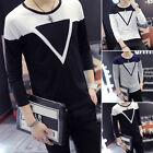 Men's Stylish Long Sleeve Printed Shirt Tee O-Neck Slim Tops Casual T-Shirts AA