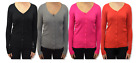 Women Ladies Long Sleeve Button Through V Neck Cardigan Ribbed Knitted-KD003