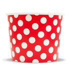 Red Ice Cream Paper Cups - 16 oz Polka Dot Disposable Birthday Party Cups