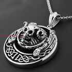 Charming 316L Stainless Steel Silver Mens Heavy Round Skull Pendant Neklace 50mm