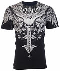 AFFLICTION Mens T-Shirt DEATH EYES Skulls Tattoo Motorcycle Biker UFC Jeans $58