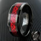 8mm Black Tungsten Men's Ring Red Celtic Dragon Wedding Band Engraving Avail.