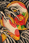 Life's Journey by Clark North Traditional Asian Koi Fish Tattoo Canvas Art Print