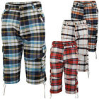 Mens Cargo Shorts Check Casual Combat Cotton Trunks Beach Swim Surf 30 32 34 36