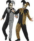 Mens Adult Evil Clown Scary Jester Harelquin Halloween Fancy Dress Costume