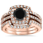 1 3/4Ct Treated Black Diamond Cushion Halo Bridal Set Solid 14K Rose Gold