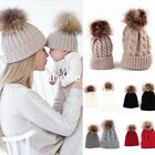 Mom Newborn Baby Boys Girls Winter Warm Faux Fur Pom Bobble Knit Beanie Hat Cap