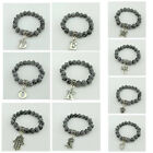 10MMACRYLIC BLACK SILVER SWIRL BEADS STRETCH BRACELET WITH ALLOY VARIOUS CHARM