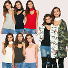 WOMENS LADIES CASUAL BASIC RIBBED KNIT CHOKER V NECK JUMPER WINTER KNITTED TOP