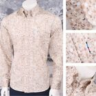 Get Up Mod Retro Skin Button Down Long Sleeve Geo Spotted Shirt Beige