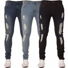 New Mens KRUZE Super Skinny Stretch Ripped Basic Casual Denim Jeans