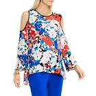 Vince Camuto Womens Cold Shoulder Printed Scoop Neck Casual Top Blouse BHFO 0186