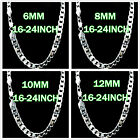 New 4-12MM Wide Solid Silver Jewelry Lady/men Silver Necklace s925 Silver Chain