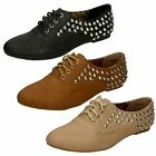 Ladies Spot On Stud Detail Flat Lace Up Shoes - F8870
