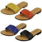 Ladies Leather Collection Flat Weave Detail Slip On ToePost Mule Sandals - F0931