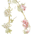 Rose garland Vintage style Wedding Home decoration Leaves light pink cream roses