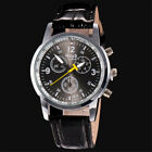 Luxury Mens Faux Leather Band Quartz Analog Wrist Watch Stainless Steel Watches
