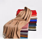 Women's Solid 100% Cashmere Pashmina Scarf Soft Warm Tassel Wrap Shawl Wine Red